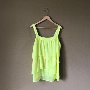 Lane Bryant Neon Yellow/Green Chiffon Tiered Wrap